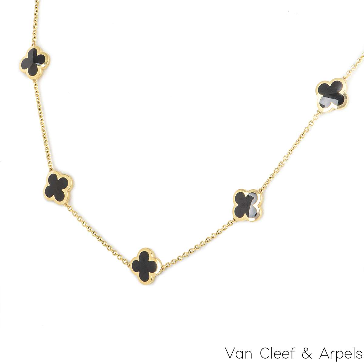 Van Cleef & Arpels Yellow Gold and Onyx Pure Alhambra Necklace ARB13700